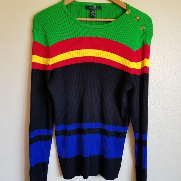 aa8fc7ebbaf16 Lauren Ralph Lauren Sweaters - ralph lauren bold stripe boatneck sweater  size XL